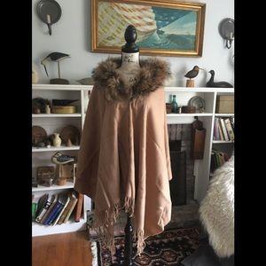 Accessories - Cashmere Wrap Shawl Cape w/ Coyote fur Collar